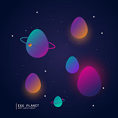 egg planet concept poster with gradient