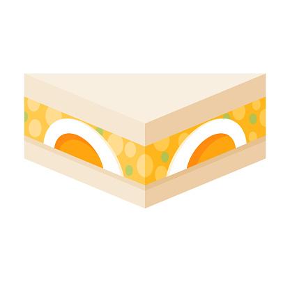Egg Salad Japanese Konbini Sandwich Icon on Transparent Background