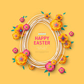 Easter card with egg shape frame and paper flowers on yellow background. Vector illustration. Place for your text.