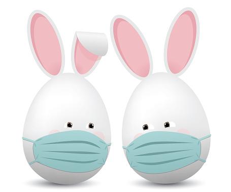 Egg shaped easter rabbits