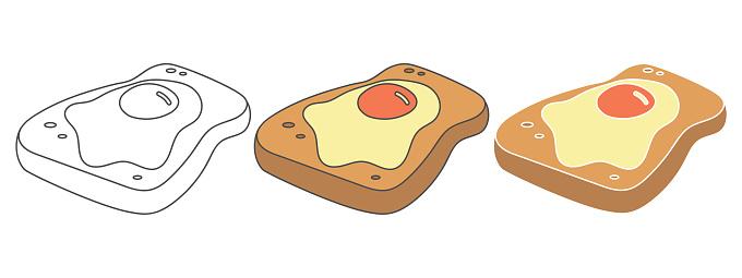 egg toast design vector illustration. food hand drawn cartoon. black and white outline