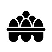 istock Egg tray vector, grocery store related solid style icon 1165035793
