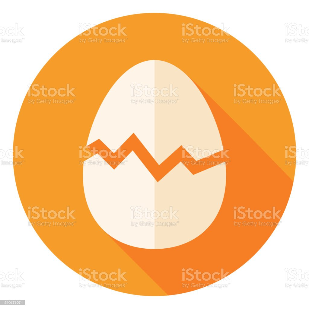 Egg with Broken Eggshell Circle Icon vector art illustration