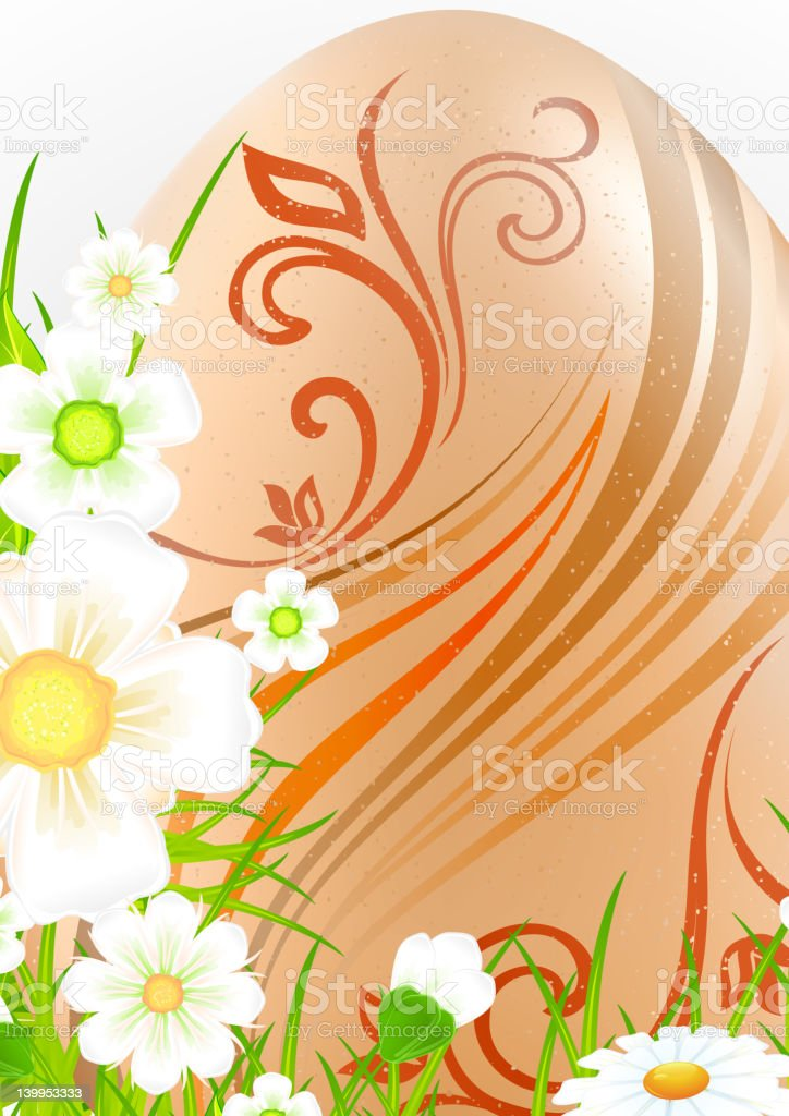 Egg with flowers & grass royalty-free stock vector art