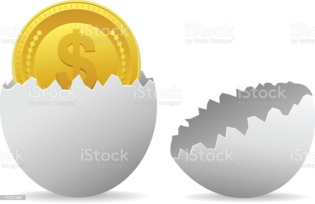 Egg with gold coin royalty-free stock vector art