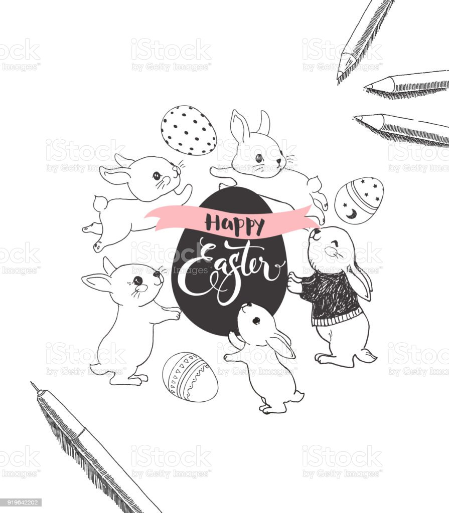 Egg with Happy Easter handwritten inscription, surrounded by cute bunnies, pen and pencils hand drawn with contour lines. Monochrome vector illustration for holiday celebration party invitation. vector art illustration