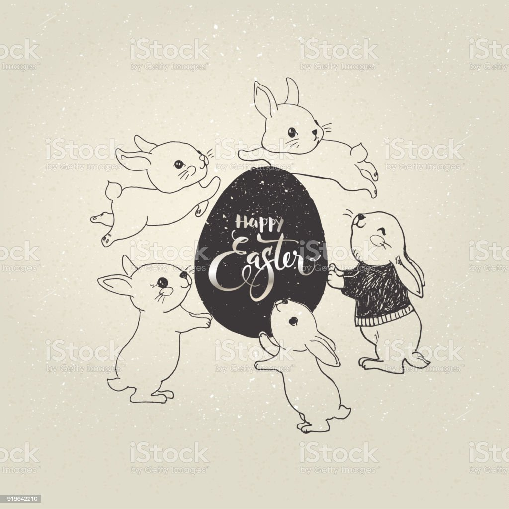 Egg with Happy Easter inscription and cute little bunnies jumping around it. Holiday symbols and elegant hand lettering. Monochrome vector illustration for greeting card, postcard, party invitation. vector art illustration