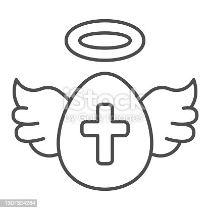 istock Egg with wings and cross thin line icon, Happy Easter concept, Holy Easter symbol on white background, Egg as winged angel icon in outline style for mobile concept, web design. Vector graphics. 1307324284