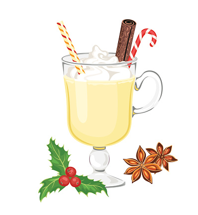 Eggnog in glass with christmas candy cane, straw and cinnamon stick isolated on white. Vector illustration of sweet winter drink in cartoon simple flat style. Egg milk punch, holly berry, anise star.