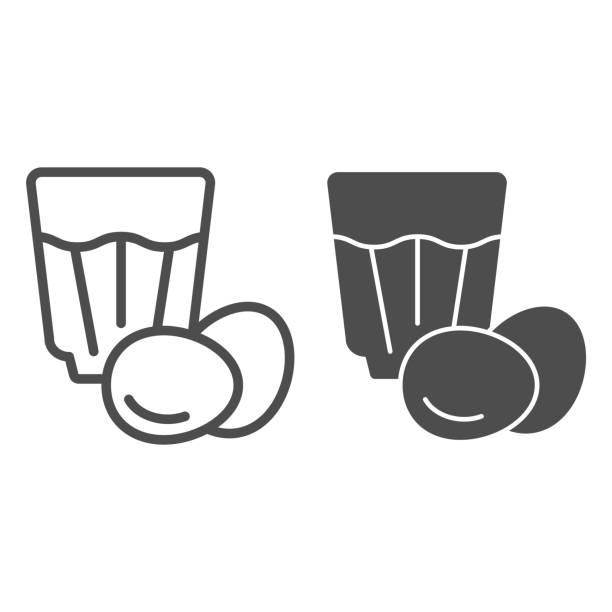 ilustraciones, imágenes clip art, dibujos animados e iconos de stock de línea eggnog e icono de glifo. ilustración vectorial de bebida de huevo aislada en blanco. diseño de estilo de esquema de cóctel de huevo, diseñado para web y aplicación. - clavo especia