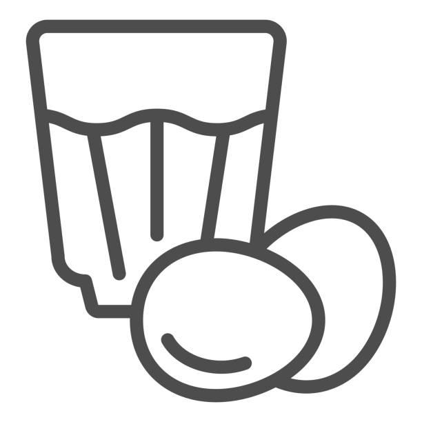 ilustraciones, imágenes clip art, dibujos animados e iconos de stock de icono de línea eggnog. ilustración vectorial de bebida de huevo aislada en blanco. diseño de estilo de esquema de cóctel de huevo, diseñado para web y aplicación. - clavo especia