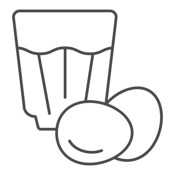 ilustraciones, imágenes clip art, dibujos animados e iconos de stock de icono de línea fina eggnog. ilustración vectorial de bebida de huevo aislada en blanco. diseño de estilo de esquema de cóctel de huevo, diseñado para web y aplicación. - clavo especia