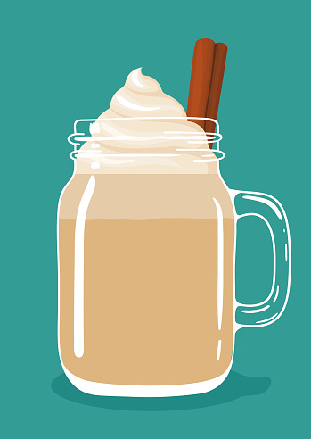 Eggnog with cinnamon stick and whipped cream in glass mason jar. Vector hand drawn illustration.