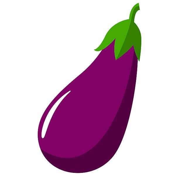 illustrazioni stock, clip art, cartoni animati e icone di tendenza di eggplant aubergine vegetable vector sign - melanzane