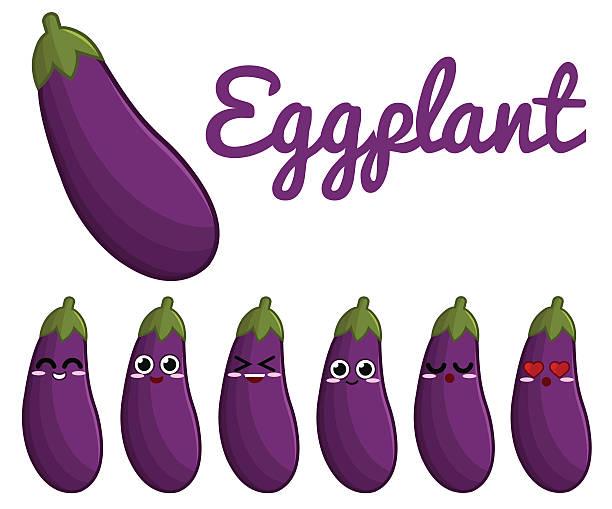 illustrazioni stock, clip art, cartoni animati e icone di tendenza di melanzana carattere - melanzane