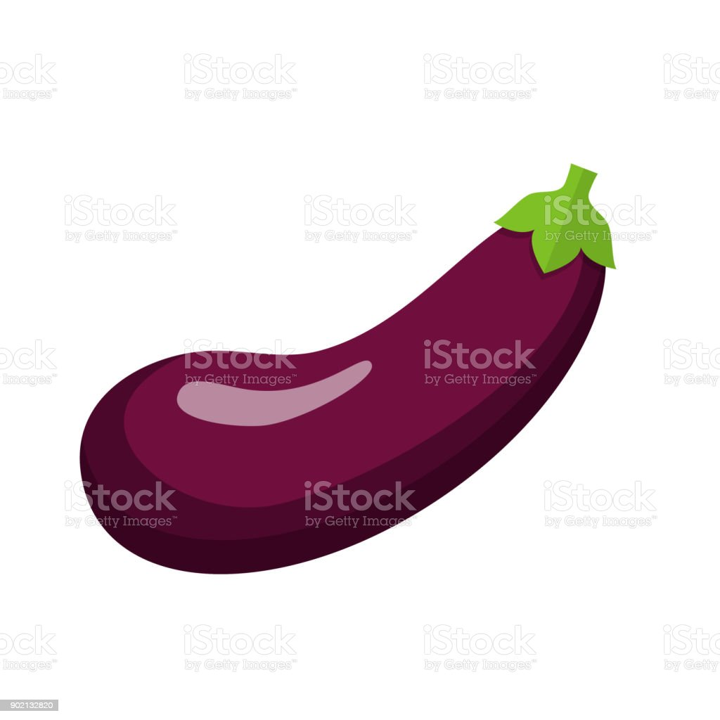 eggplant Flat Design vector art illustration