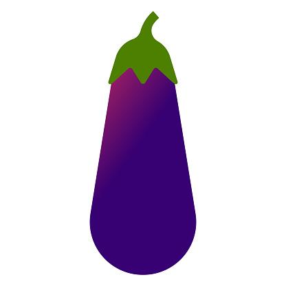 Eggplant. Minimal style violet aubergine. Minimalistic eggplant, side view.