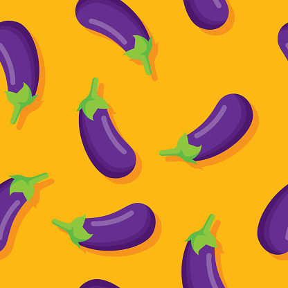 Vector illustration of eggplants in a repeating pattern against a yellow background.