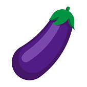 istock Eggplant. Purple vegetable in flat style. 1225273356