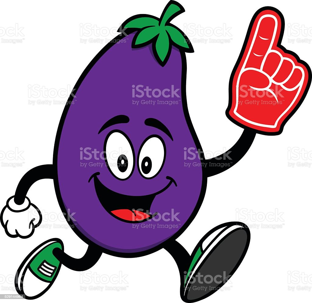 Eggplant Running with a Foam Finger vector art illustration