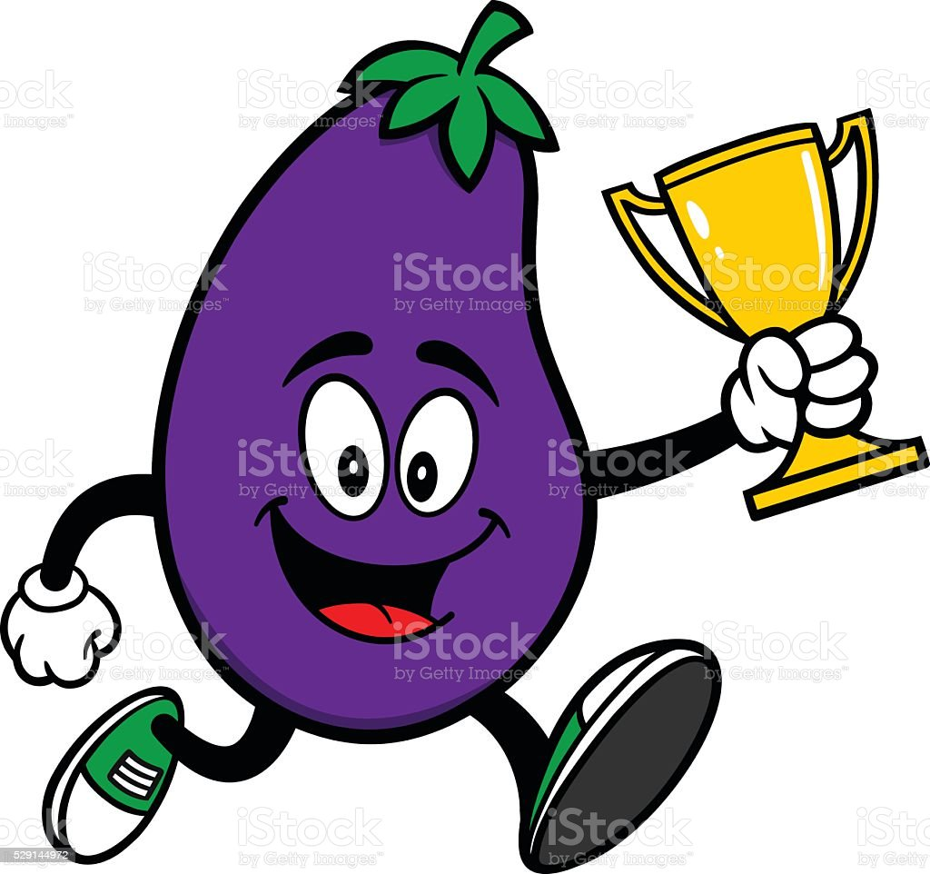 Eggplant Running with a Trophy vector art illustration