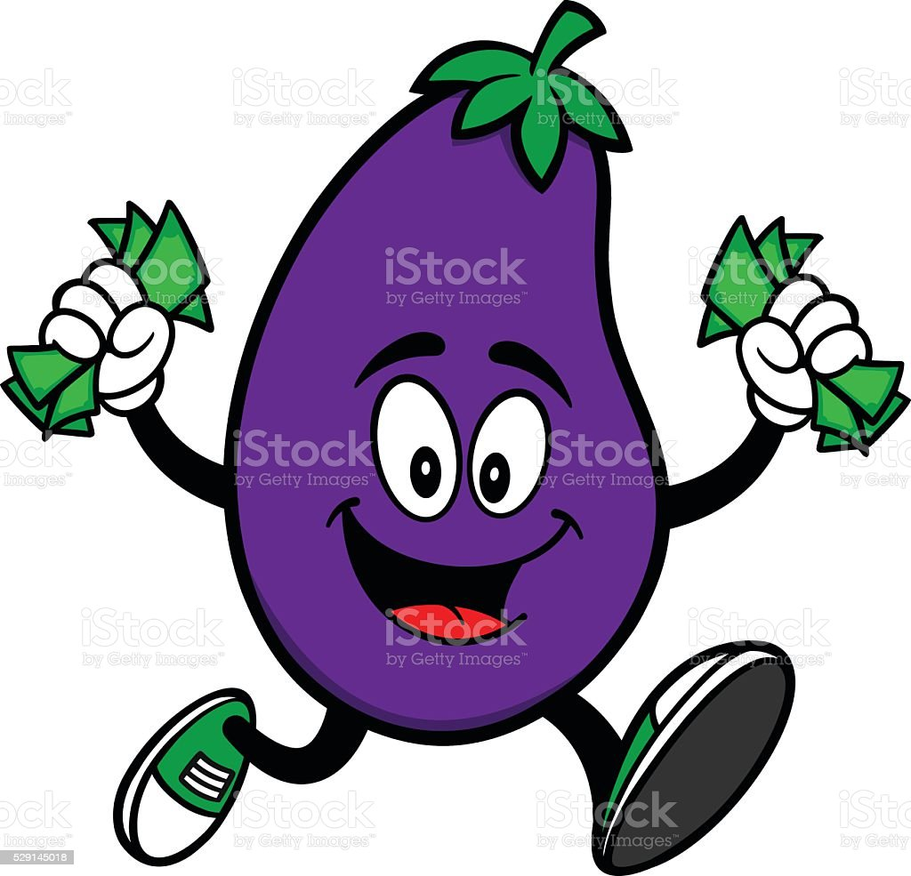 Eggplant Running with Money vector art illustration