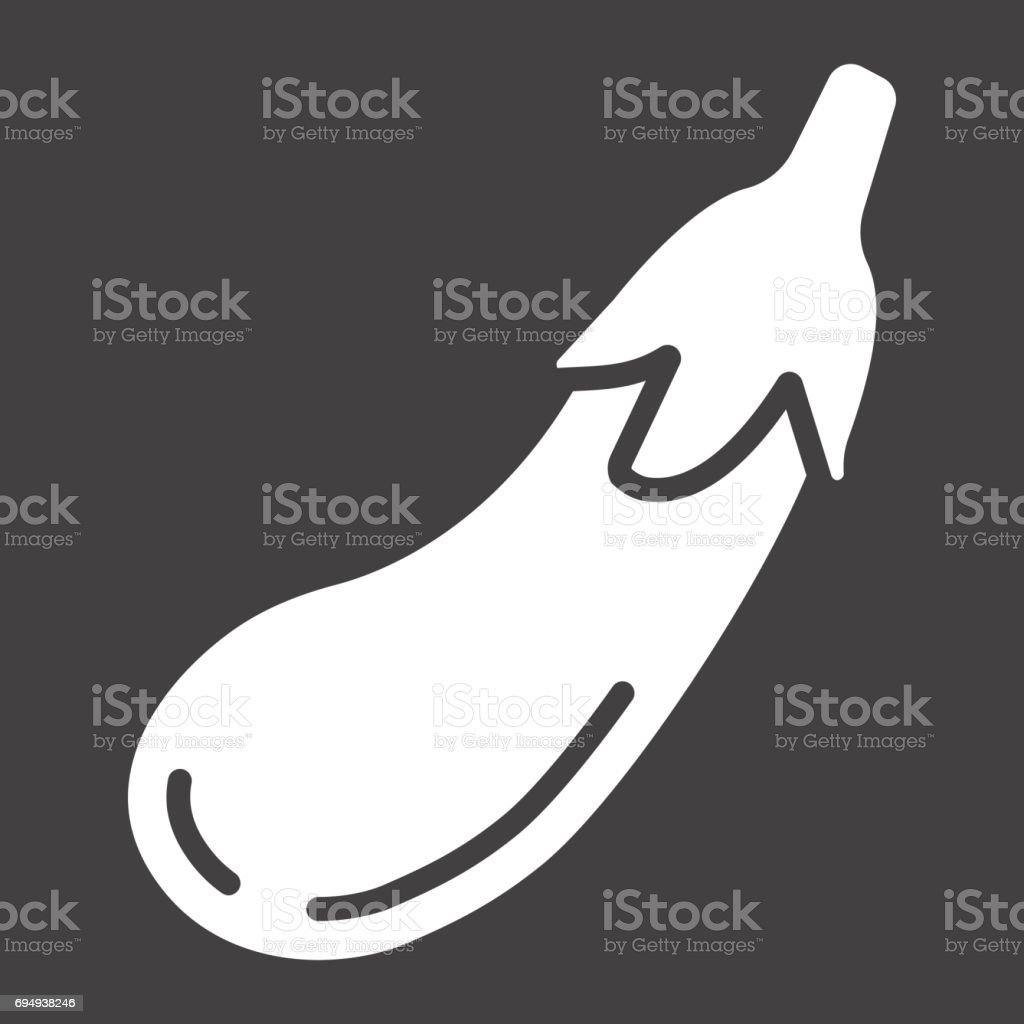 Eggplant solid icon, vegetable and diet, vector graphics, a glyph pattern on a black background, eps 10. vector art illustration