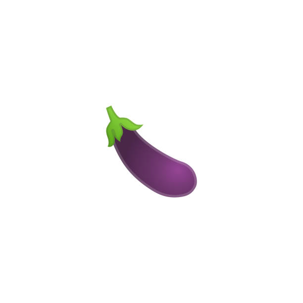 illustrazioni stock, clip art, cartoni animati e icone di tendenza di eggplant vector icon. isolated aubergine vegetable emoji, emoticon illustration - melanzane