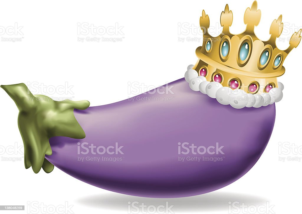 Eggplant wearing golden crown (vector) vector art illustration