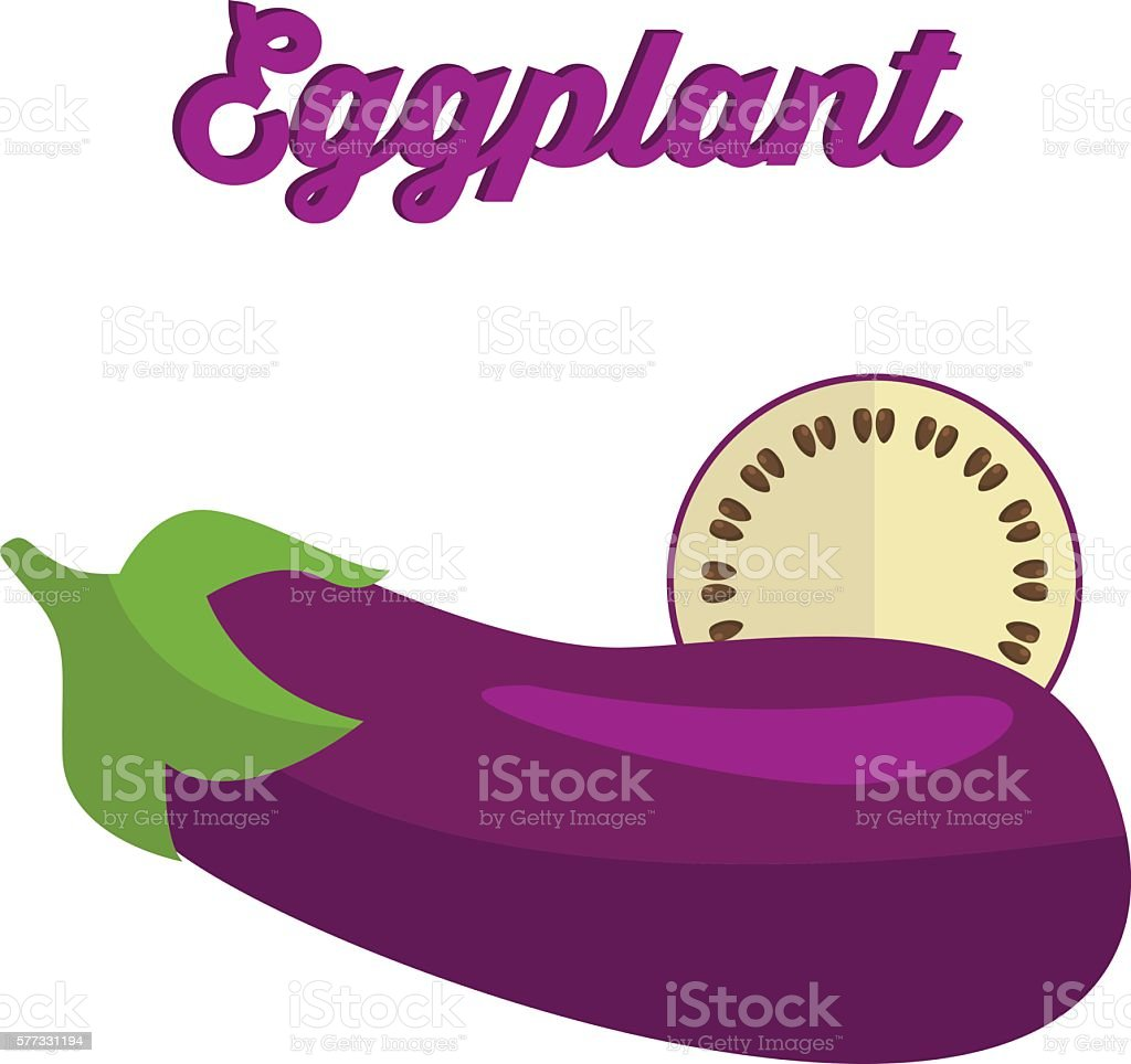 Eggplant - whole and cut. Vector illustration vector art illustration