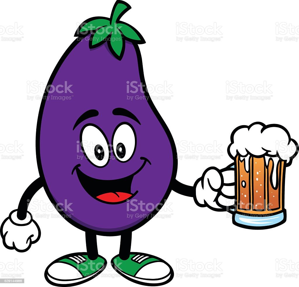 Eggplant with a Beer vector art illustration