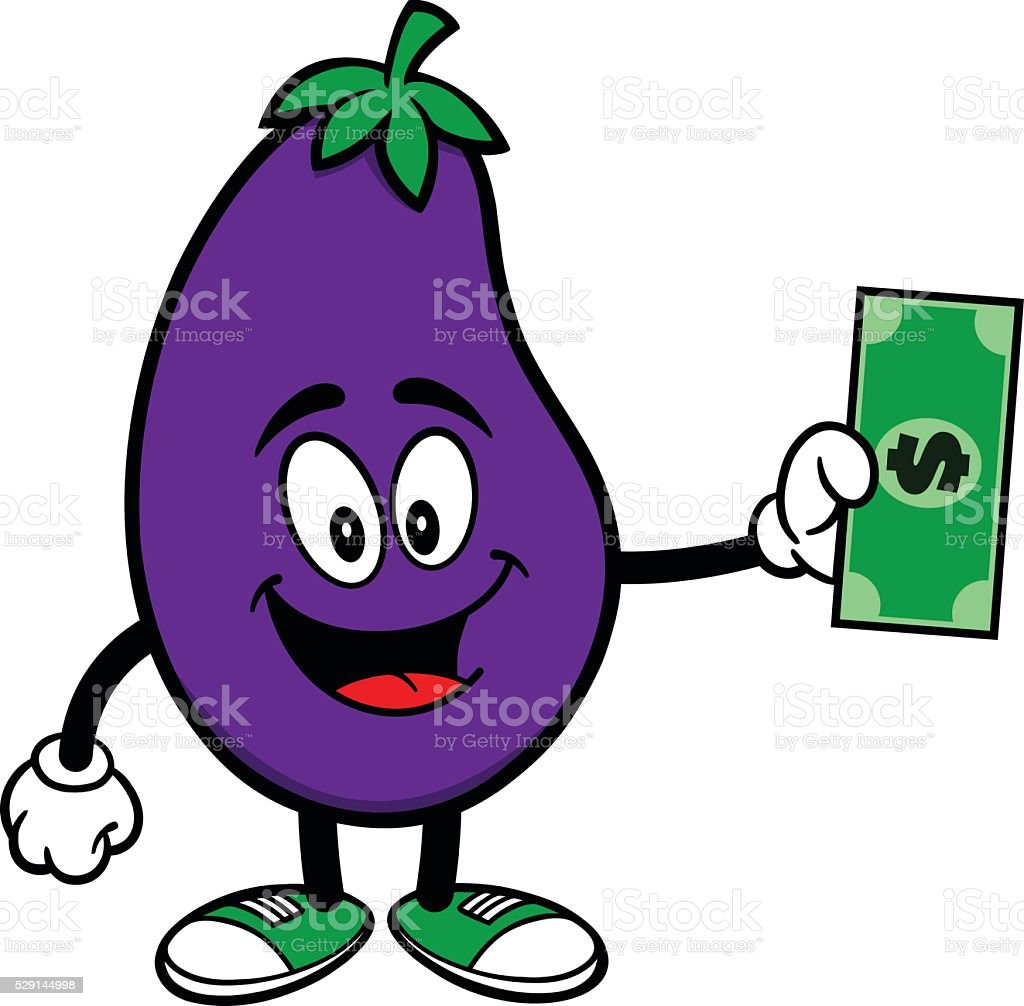 Eggplant with a Dollar vector art illustration