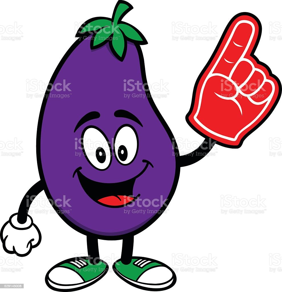Eggplant with a Foam Finger vector art illustration