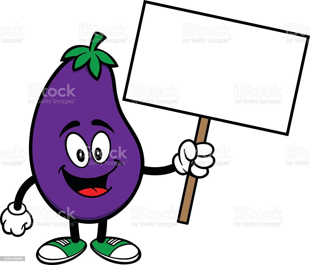 Eggplant with a Sign vector art illustration