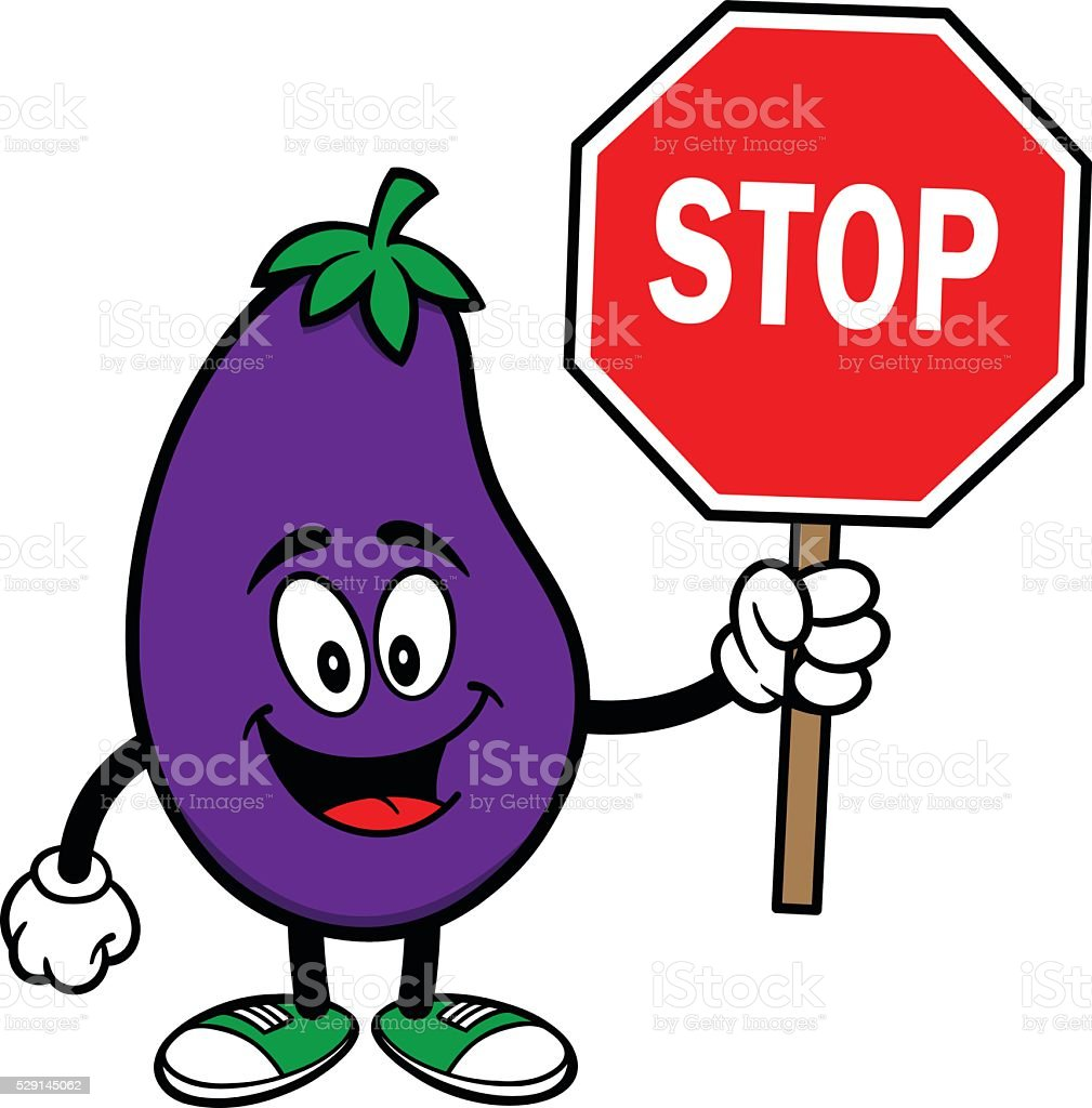 Eggplant with a Stop Sign vector art illustration