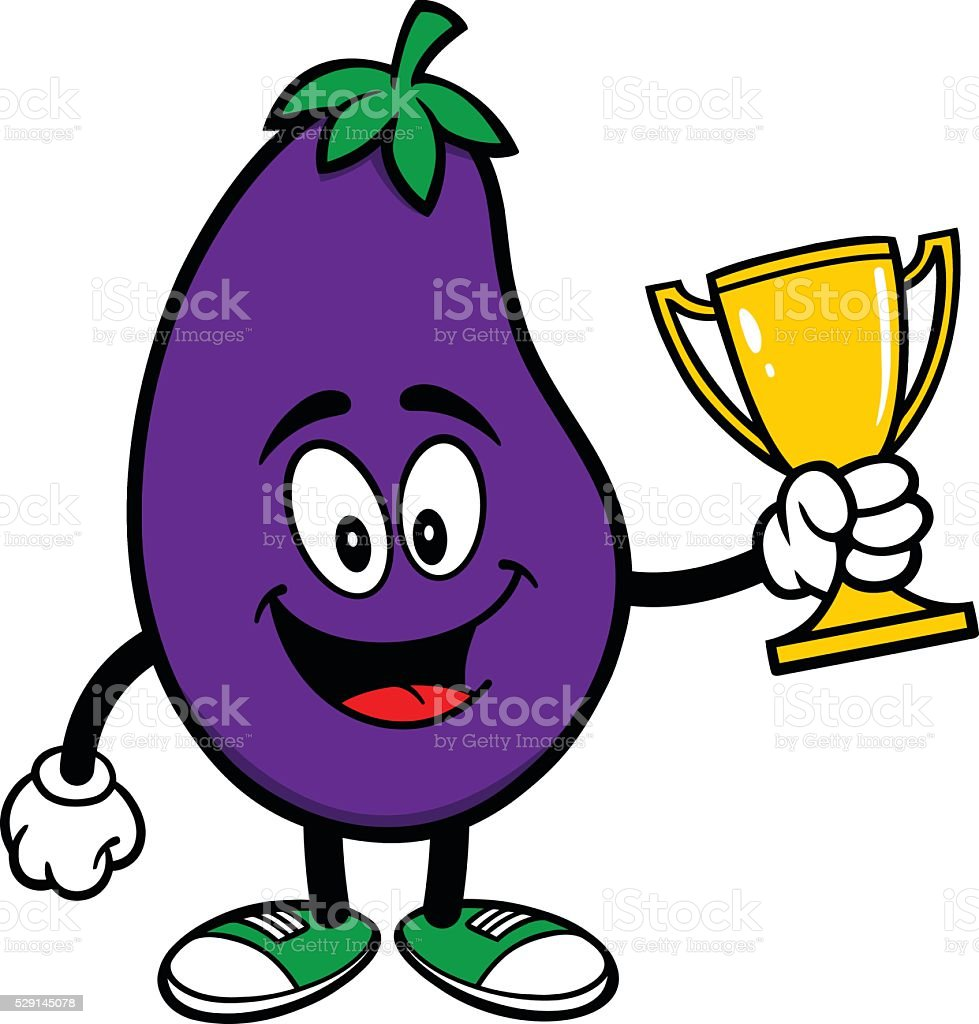 Eggplant with a Trophy vector art illustration