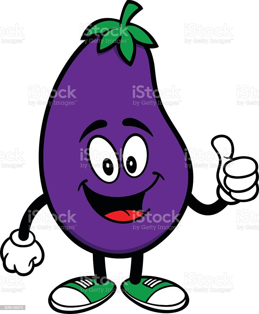 Eggplant with Thumbs Up vector art illustration