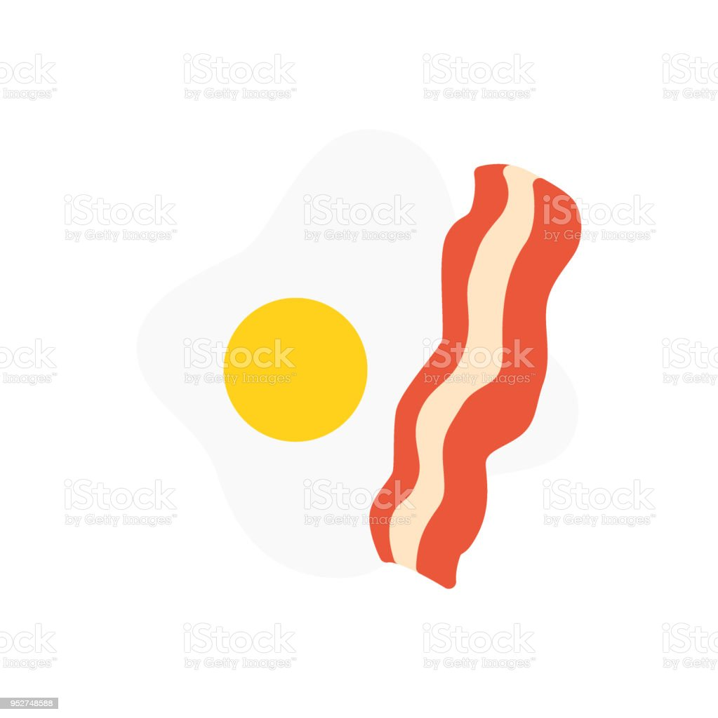 Eggs and bacon breakfast food icon vector flat vector art illustration