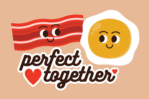 Eggs and Bacon Couples Relationships Valentine's Day Meme Greeting Card