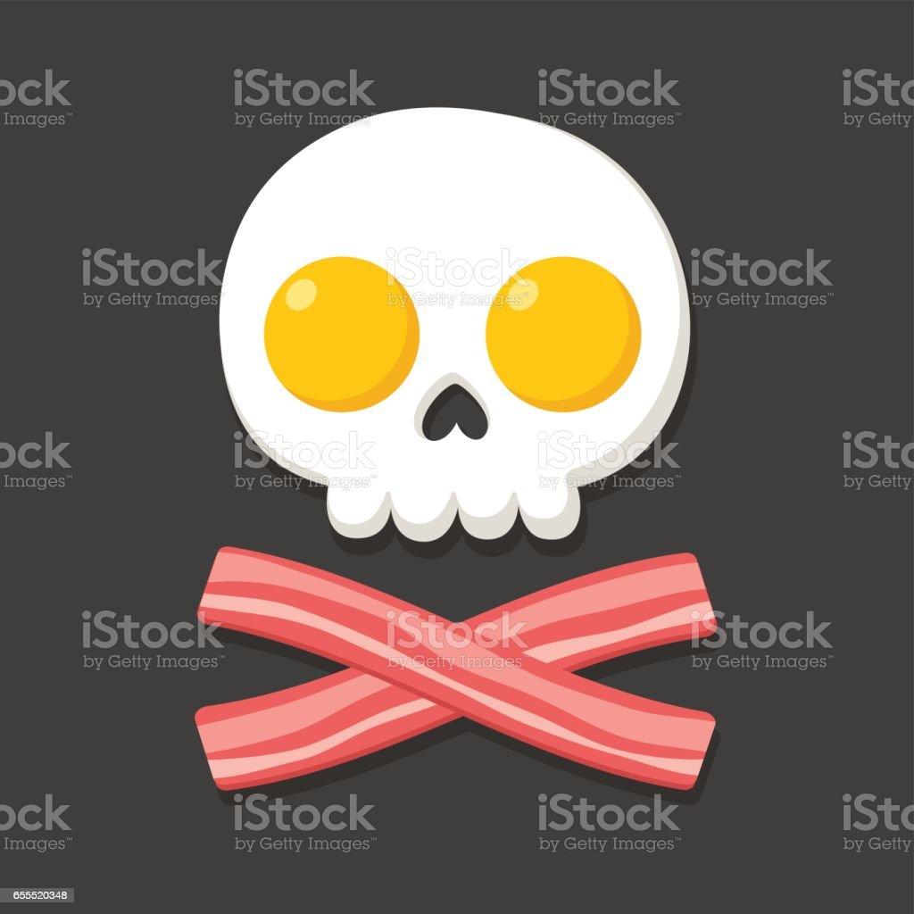 Eggs and bacon skull vector art illustration