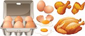 Eggs and fried chicken
