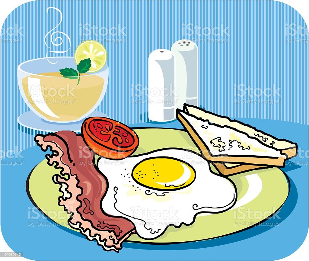 Eggs and tea for breakfast royalty-free stock vector art