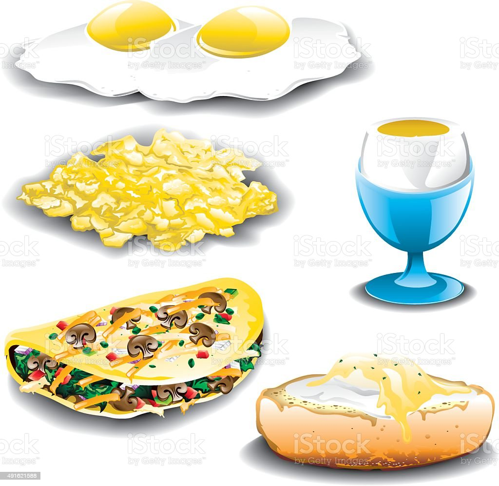 Eggs assorted vector art illustration