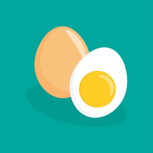 bildbanksillustrationer, clip art samt tecknat material och ikoner med ägg flat ikonen - ägg