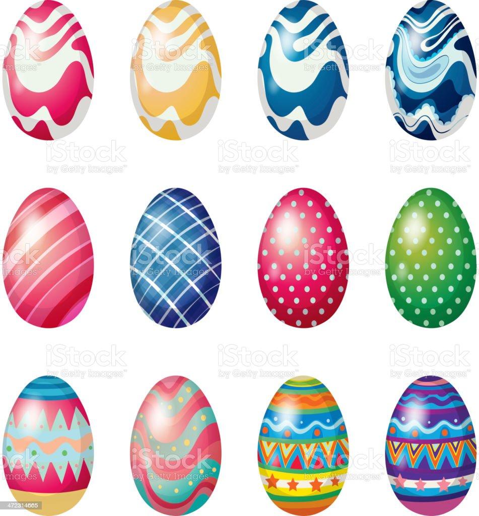 Eggs for the Easter Sunday egg hunt royalty-free stock vector art