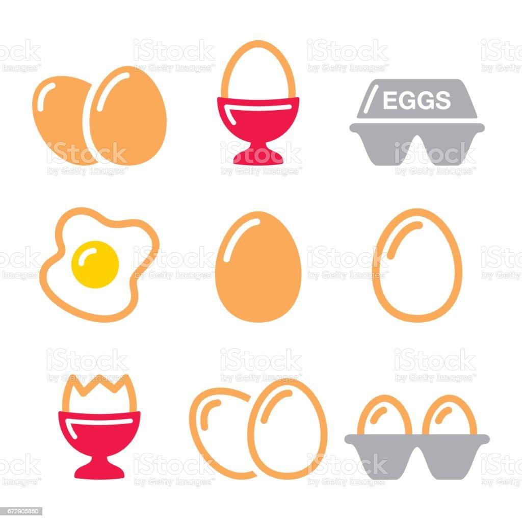 Eggs icons, fried egg, egg box - breakfast icons set