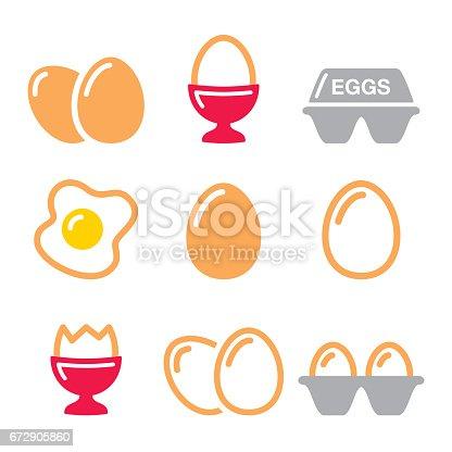 istock Eggs icons, fried egg, egg box - breakfast icons set 672905860
