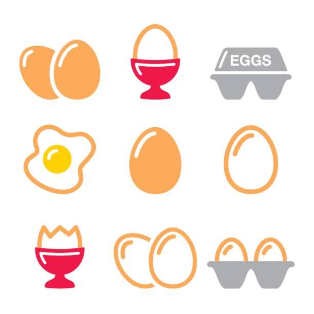 Eggs icons, fried egg, egg box - breakfast icons set vector art illustration
