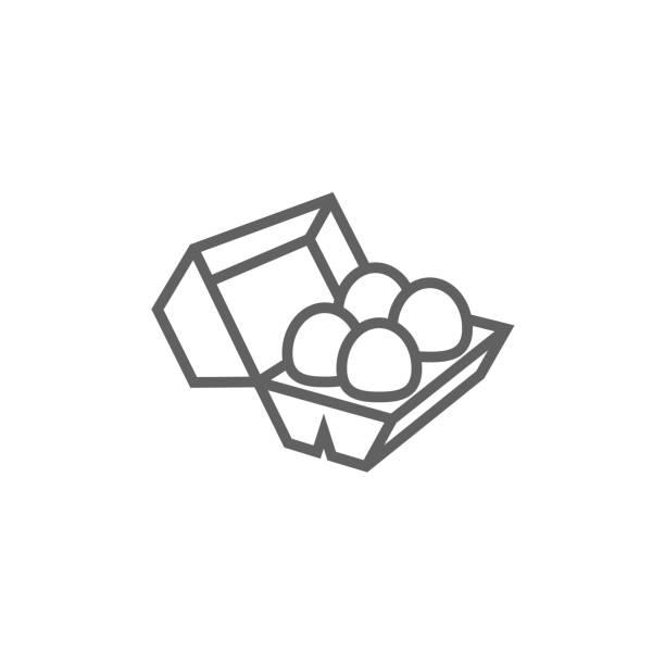 stockillustraties, clipart, cartoons en iconen met eieren in doos pakketpictogram lijn - chicken bird in box