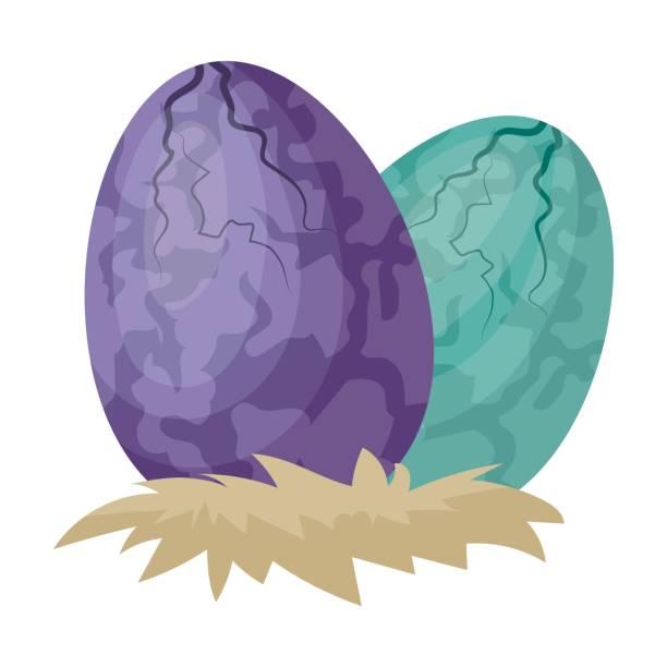 Eggs of dinosaur icon in cartoon style isolated on white background. Dinosaurs and prehistoric symbol stock vector illustration. - illustrazione arte vettoriale